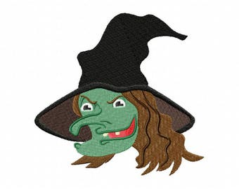 Halloween witch embroidery design
