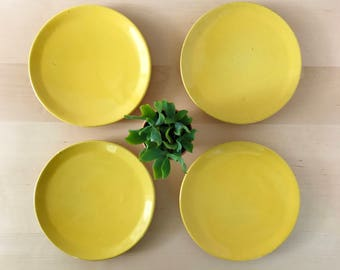 Four Vintage Frankoma Salad, Bread and Butter Plates | Plainsman Autumn Yellow 6G | Set of 4 Ceramic Plates | Mustard Yellow