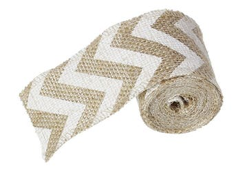 Ribbon in white and natural chevron burlap