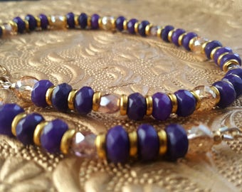 Royals ~ Hot Purple Jade and Gold Choker Necklace