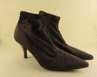 Brown Fabric Ankle Boots Pointed Toe High Heel Boots Size7