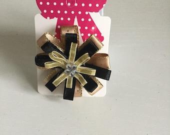 Black & gold mini Circular crocodile clip hair Bow