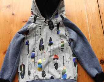 Metalic feather print hoodie with scuba style hood