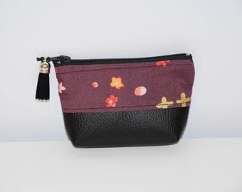Japanese fabric wallet / leather look-pattern - multicolored tones - gift idea