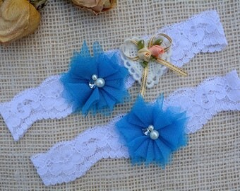 Turquoise Garter, Bridal Garter Set, Wedding Garter Set, Something Blue Garter, Rosette Garter, Wedding Clothing, Keep Garter, Toss Garter