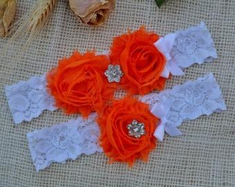Garter Set Orange, Lace Toss Garter, Bridal Clothing, Garters Orange, Summer Garter, Romantic Garters, Lace Garter Set, Orange Keep Garter