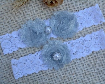 Garter Grey Flower, Glitter Garter Set, Grey Bridal Set, Silver Garter Set, Garter Grey, Garter For Brides, Keep Garter, Grey Bridal Garter