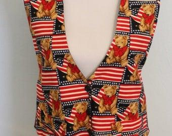 Vintage American Flag Vest, Womens Vest, Patriotic Vest, 4th of July Vest, Vintage Holiday, Vintage Flag Vest, American Apparel, July 4th