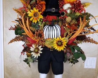 Thanksgiving Floral Pilgrim Wreath, Autumn Wreath, Fall Decor, Holiday Decor, Deco Mesh Wreath, Seasonal Decor, Wall Decor, Autumn Decor