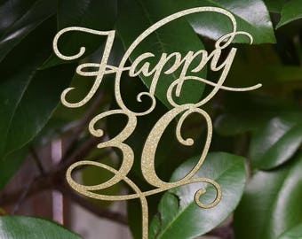 Birthday topper, Happy 30th  Birthday Cake Decor, Anniversary Happy Birthday Cake Topper Silver Glitter cake