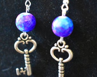 Tie Dye Skeleton Key Earrings