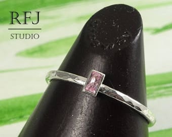 Baguette Pink Diamond CZ Hammered Silver Ring, Rectangle Pink Cubic Zirconia CZ Promise Gift Ring 3x1.5 mm Baguette Cut Pink Diamond Ring