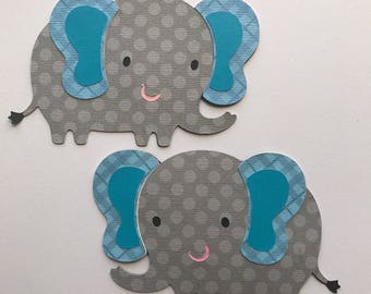 4 elephants die cut, gray and aqua elephant,  baby shower decorations, elephant birthday party, card making, aqua elephant, safari animals