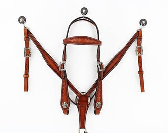 Classic Style Handmade Western Trail Cutting Horse Tooled Leather Ranch Bridle Breast Collar Tack Set Made To Order