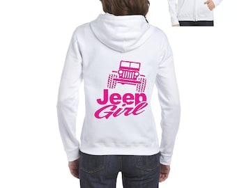 Jeep Girl Humor Trucks Gift for Christmas Birthday Match with Jeans Leggings Hats Full-Zip Women's Hoodie