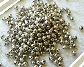 Metal Pearl Beads, 4mm Spacer Beads, 4mm Silver Beads, Silver Pearl Beads, 4mm Pearls, Round Pearls, Beading Supplies
