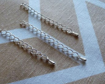 Extender Chain with Drop Charms, 2 inch Extension Chain, 5cm Silver Plated Extension Chain, Silver Plated Drop Charm, Cord Tail
