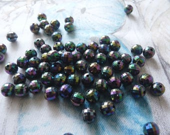 Black Acrylic Beads, 8mm Black Beads, AB Plated Black Beads, Iridescent Black Spacer Beads, Beading Supplies