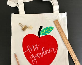 Personalized Teacher Red Apple Tote Bag