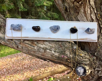 Necklace hanger, stone necklace holder, jewelry hanger, reclaimed wood necklace hanger, stone necklace organizer, necklace organizer