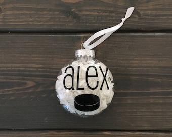 personalized hockey ornament, Christmas ornament, hockey puck, hockey team gift