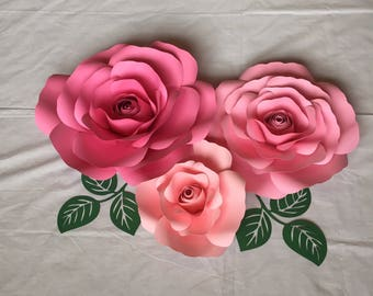 Rose Paper Flowers-Set of 3