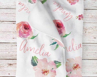 Personalized Baby Girl Name Blanket, Floral watercolor print coral(BB115)