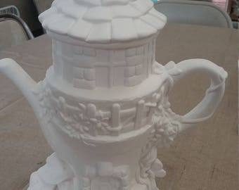 Teapot fairy house ready to paint