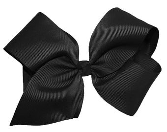 "New Large Handemade Black 6"" Grosgrain Girls Hair Bow"