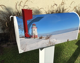 Lighthouse in Winter Magnetic Mailbox Cover