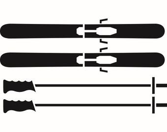 Ski Poles Skis Mask Snow Skiing Skier Downhill Winter Extreme Sport.SVG .EPS .PNG Instant Digital Clipart Vector Cricut Cut Cutting Download