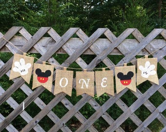 Mickey Mouse Inspired Burlap Banner