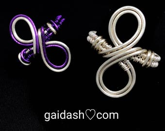 Silver/Purple Copper Wire Wrap Spiritual Jewelry Infinity Ring.Infinity love Wire Weaved Ring - Eternity Friendship Ring.