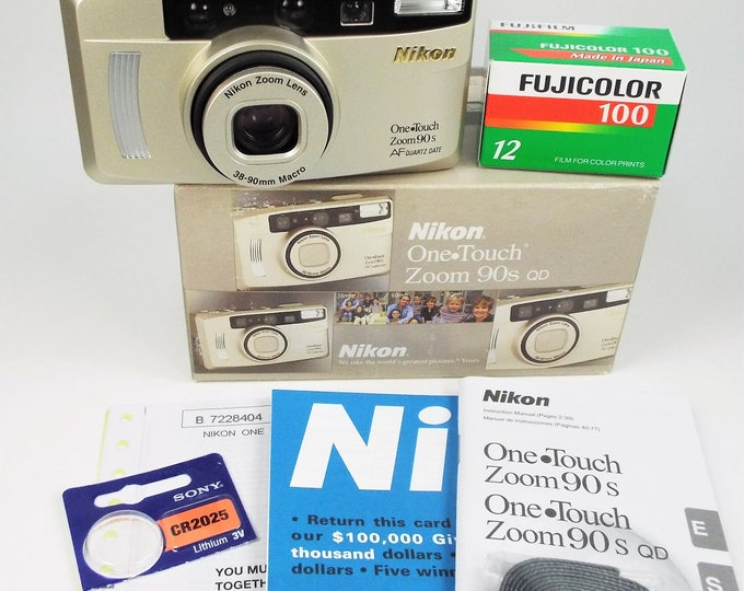 Nikon One Touch Zoom 90s QD 35mm Compact Film Camera Outfit - Mint New in Box - Nikon 38-90mm MacroZoom 2.4x Lens - Fujicolor Film Included!