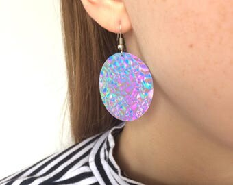 Hologram iridescent opal holographic disc earrings // dangle drop // festival iridescent sparkly silver hologram // silver-plated hooks //