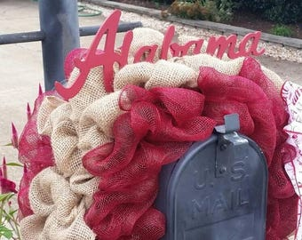 ON SALE Alabama Mailbox Cover / Deco Mesh Mailbox Cover / Alabama Outdoor Decorations /Roll Tide / Fall Wreath /Fall Mailbox Cover /  #bling