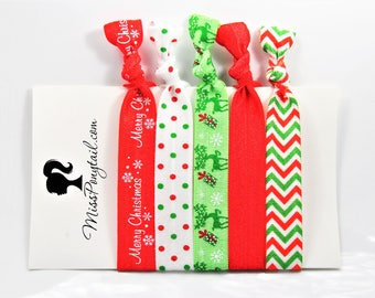 Christmas Hair Ties, Stocking Stuffers, Chevrons, Elastic Hair Ties, Handmade, Elastic Ribbon, Ponytail Holder, Knotted missponytail
