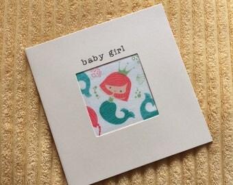 Mermaid Baby Girl Handmade New Baby Greetings Card