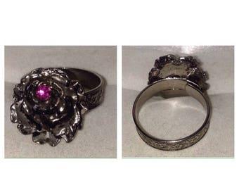 On Sale Vintage Silver Tone Rose Ring