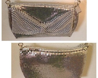 Anniversary Sale Lovely Silver Mesh Purse with Bow