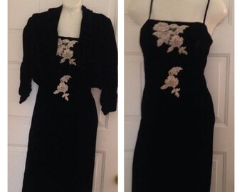 Anniversary Sale Gorgeous Black Velvet Spaghetti Strap Dress with Matching Jacket
