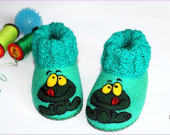 Frog Anuran Felted Slippers Toddler Baby Booties Kids Wool Shoes Felt Handmade Children Newborn Gift Baby Shower Blue Green Knitt Clogs