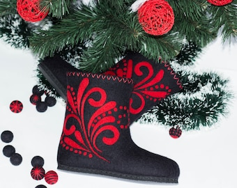 Winter Women Felted Boots Black Short Snow Footwear Wool Valenki Red Pattern New Year Ornament Boho Painting Eco Vegan Shoes Wife Gift