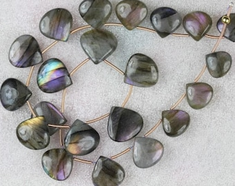 20 piece smooth heart LABRADORITE briolette beads 12 -- 17 mm approx
