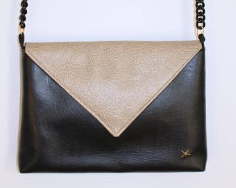 Clutch bag black and gold