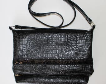 Large faux leather flap clutch bag reversible and black sequined band