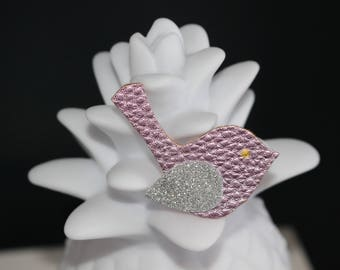 Brooch bird pink faux leather and glitter