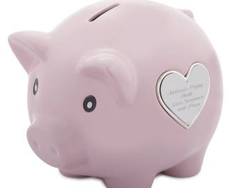Pink or Blue Piggy Bank, Personalized Piggy Bank