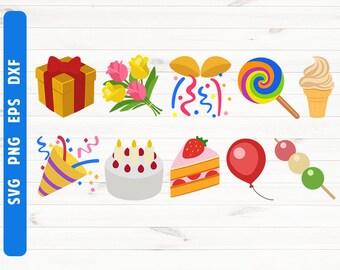 Birthday emoji SVG Birthday emoji cut file Digital file Cricut Silhouette Emoji cut file Commercial use svg