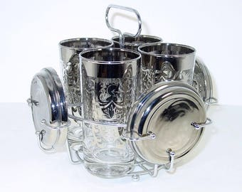 Vitreon Queen's Lusterware Bar Set, Caddy, Highball Glasses, Coasters, Crest Signature, Coat of Arms, Silver Rims, MCM